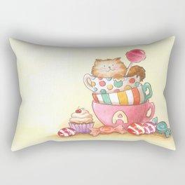 Cups, candy and a cat Rectangular Pillow