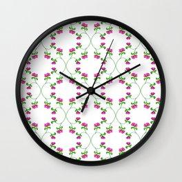 Floral Latticework on white Wall Clock