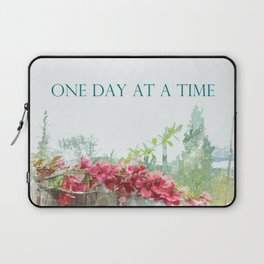 One Day at a Time Fence Flowers Laptop Sleeve