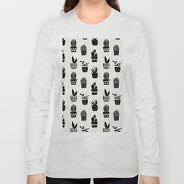 Geo Cacti Black Long Sleeve T-shirt