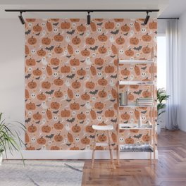 Pumpkin Party on Blush Pink Wall Mural
