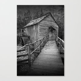 Black and White of the John Cable Gristmill in Cade's Cove Canvas Print