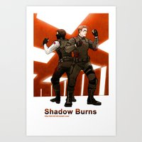 stucky Art Prints featuring shadow burns by Hill