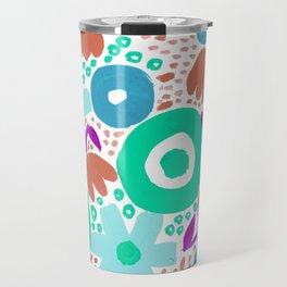 Bold Abstract Floral Inspired Pattern (Blue, Aqua, Purple, Raw Sienna) Travel Mug