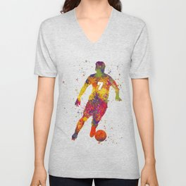 Soccer player isolated 02 in watercolor Unisex V-Neck