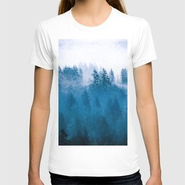 Blue Winter Day Foggy Trees T-shirt