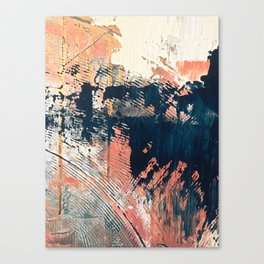 Hidden Gem [1]: an abstract mixed media piece in pink, blue, gold and white Canvas Print