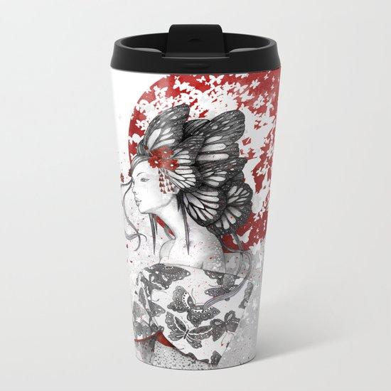 Madame Butterfly Metal Travel Mug