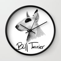 bull terrier Wall Clocks featuring Bull Terrier by Det Tidkun