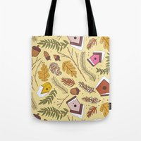70s Tote Bags featuring 70s Woodland by Aron Gelineau
