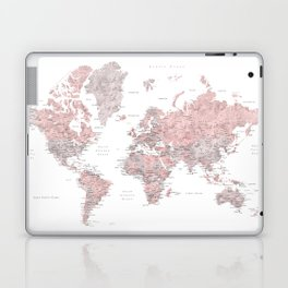 Dusty pink and grey detailed watercolor world map Laptop & iPad Skin