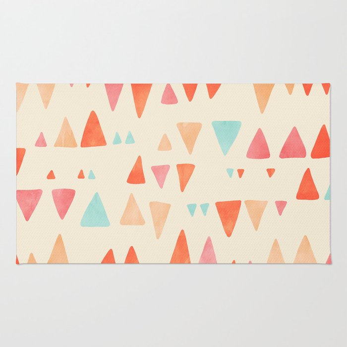 Triangle Abstract Pattern In Peach, Aqua