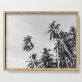 Palms Trees on the San Blas Islands, Panama - Black & White Serving Tray