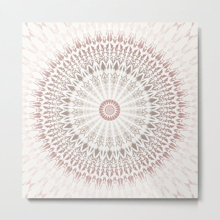 Cream Rose Mandala Metal Print