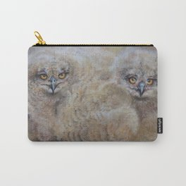 OWLS Wildlife illustration Two young Eagle Owl in the forest Pastel drawing Gray birds Carry-All Pouch