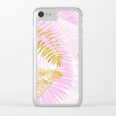 Aloha- Pink Tropical Palm Leaves and Gold Metal Foil Leaf Garden Clear iPhone Case