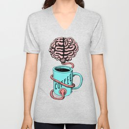 Coffee for the brain. Funny coffee illustration Unisex V-Neck