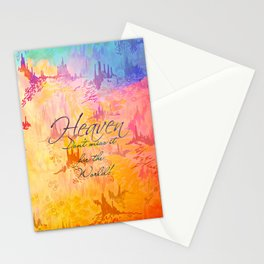 HEAVEN Don't Miss It for the World, Happy Watercolor Pastel Colorful Typography Christian Painting Stationery Cards