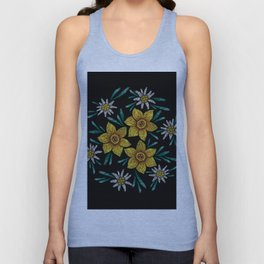 Embroidered Flowers on Black Circle 11 Unisex Tank Top