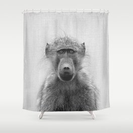 Baboon - Black & White Shower Curtain