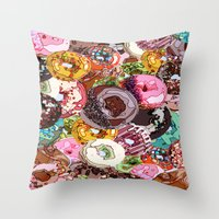 donuts Throw Pillows featuring Donuts by Tina Mooney