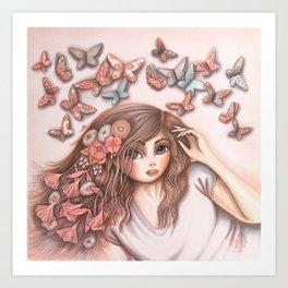Paper Butterflies with girl Art Print