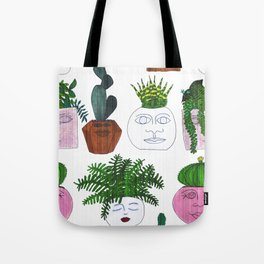 Planter Faces in White Woodgrain Tote Bag