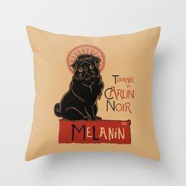 Le Carlin Noir (The Black Pug) Throw Pillow