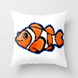 8-Bit Pixel Art Clown Fish Throw Pillow