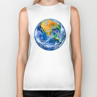 earth Biker Tanks featuring Earth by Marble Trouble
