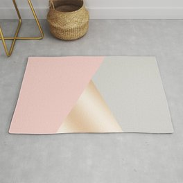 Modern blush pink, grey & rose gold geometric triangles Rug