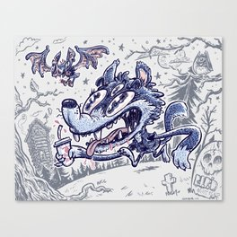 Wolf & bat Canvas Print
