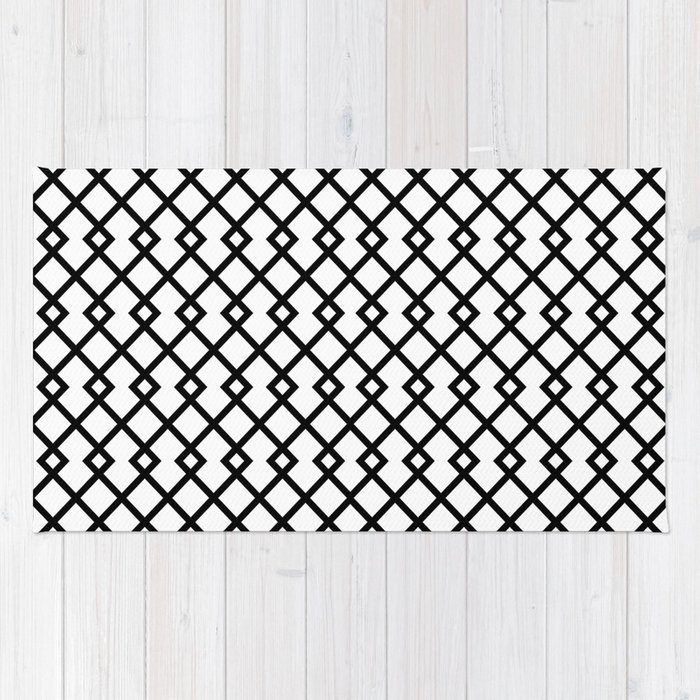 White Diamond Pattern Rug By Skylinesquirrel Society6