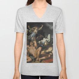 Abraham Bloemaert - Apollo and Diana Punishing Niobe by Killing her Children (1591) Unisex V-Neck