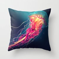 jellyfish Throw Pillows featuring Jellyfish by Nikittysan