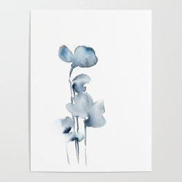 Blue grey florals Poster