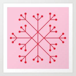 Mod Snowflake Pink & Red Art Print