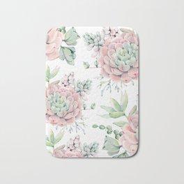 Pretty Pink Succulents Garden Bath Mat