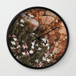 wild flowers in the red sand Wall Clock