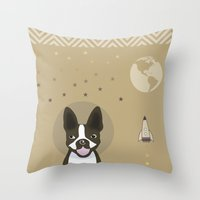 boston terrier Throw Pillows featuring boston terrier by My Studio