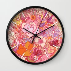 Detailed summer floral pattern Wall Clock