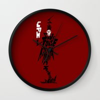 soul eater Wall Clocks featuring lord death soul eater by Rebecca McGoran