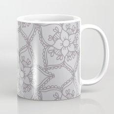Silver gray lacey floral 2 Mug