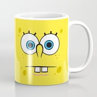 spongebob Mugs featuring Spongebob Surprised Face by Cute Cute Cute