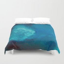 WaterColor Turqouise Blue Print Duvet Cover