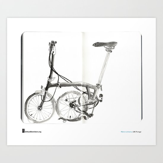 "Mário Linhares, ""Brompton Bicycle"" Art Print"