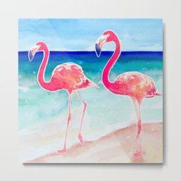 Flamingo Beach - tropical pink flamingos | ocean | resort | seaside | summer Metal Print