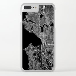 Seattle Black Map Clear iPhone Case