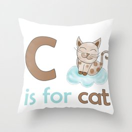 C is for Cat, children alphabet for kids room and nursery Throw Pillow