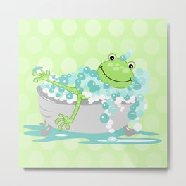 Frog in BathTub Kids Shower Bathroom Art Metal Print
